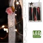 Гирлянда нить 2м холоднобелая батарейки 40 диодов LED водонепроницаемая