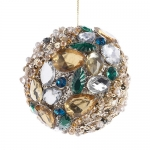 Декоративный шар со стразами, бисером, пайетками. Диаметр 9см